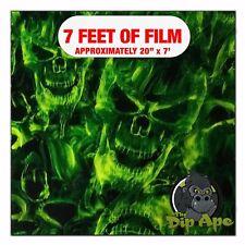 Hydrographic Film Green Flaming Skulls Hydro Dipping 7 X 20 Hydro Dip