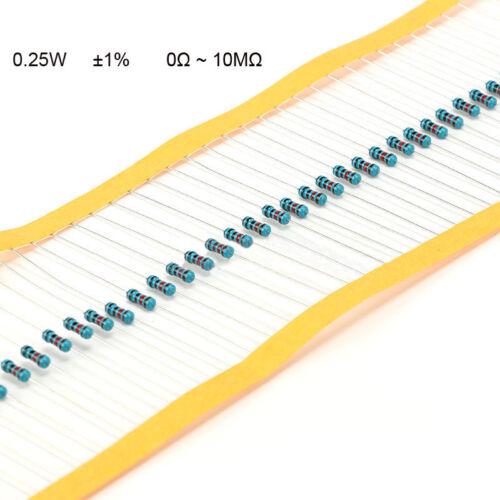 0Ω to 10MΩ 100PCS 1//4W Metal Film Resistor 0.25W ±1/% Full Range of Values