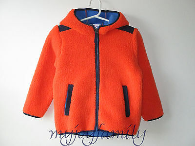 HANNA ANDERSSON Chill Chaser Sherpa Jacket Coat Bright Orange 140 10 NWT