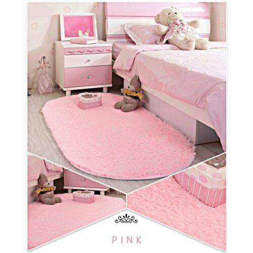 Area Rug Soft Kids Room Girls Mat Shaggy Pink Nursery Mat Home Play Room New