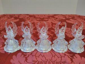 5-Vintage-Clear-Plastic-ANGEL-Light-up-Multi-Color-Christmas-Ornament-RARE