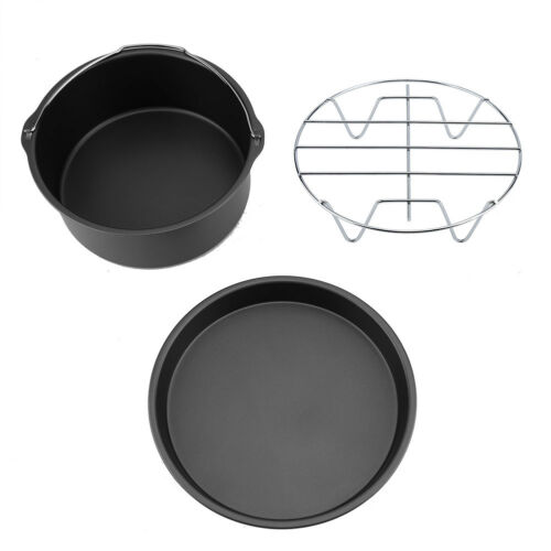 8inch 3 in1 Air Fryer Accessories Cake Chip Baking Barrel Pizza Pan Set