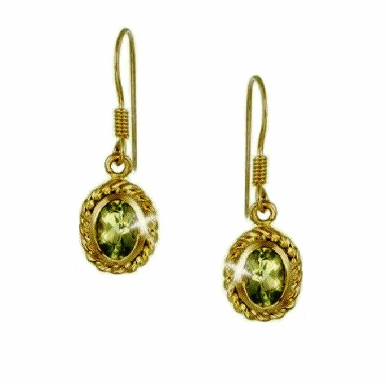 13476c2be Bezel Oval Peridot Dangle Earrings Twisted Rope 14k Yellow gold over 925 SS