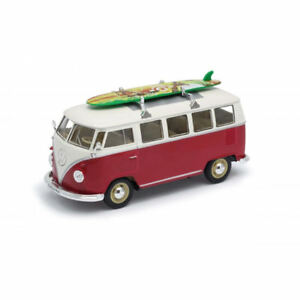 WELLY-1-24-VOLKSWAGEN-T1-MICROBUS-1962-WITH-SURFBOARD