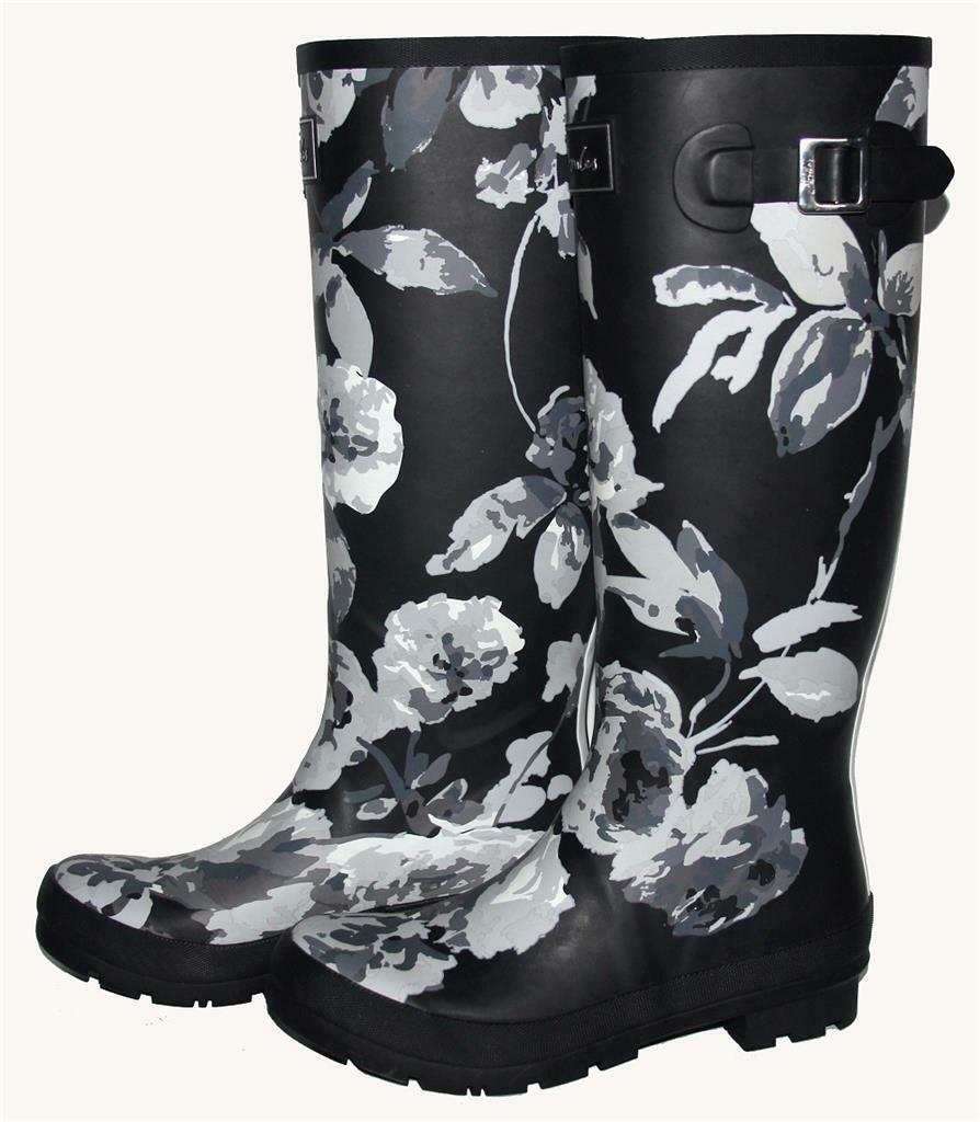 JOULES Bloom Grey Watercolor Floral Wellie Tall Buckle Top Rubber Boot Wms 8 NWT