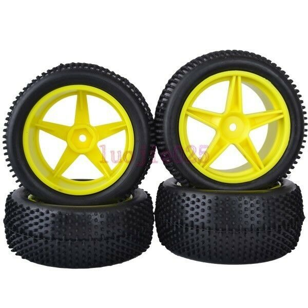 RC 1:10 Off-Road Buggy Front&Rear Rubber Tyre Tires &yellow wheel 6603AS