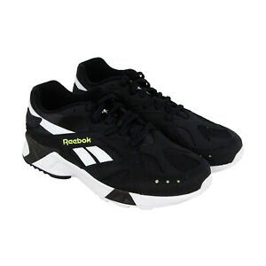 Reebok-Aztrek-CN7188-Mens-Black-Leather-Casual-Lace-Up-Low-Top-Sneakers-Shoes