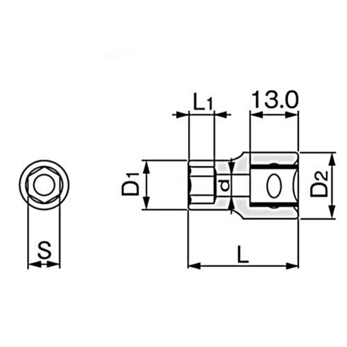 """Chrome Vanadium Acier 6-Point Métrique Main Socket 6-19 mm Dr NEUF 3//8/"""" 9.5 mm"""