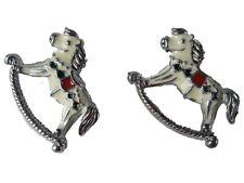 Ausgefallene Ohrringe Ohrstecker Stecker Schaukelpferd Pferd Spielzeug 1984 NEU