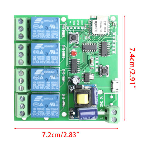 AC 220V 4 Channel WiFi Wireless Relay Delay Switch 4-way Control for Smart Home