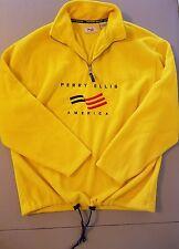 Men's Vintage Perry Ellis America yellow fleece sweatshirt jacket Medium M EUC!