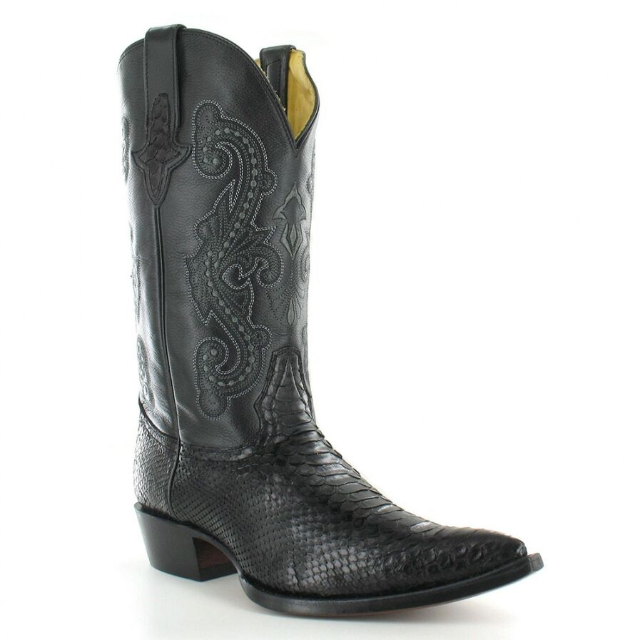 Go West El Camino Mens Leather And Snakeskin Western Cowboy Boots Black