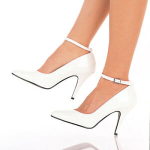 IN-STOCK-SALE-PLEASER-Vanity-431-White-Ankle-Strap-Pump-Work-Heels-AU-Size-5