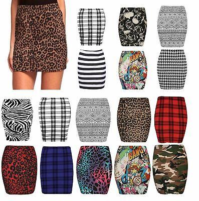 Women Bodycon Zebra Leopard Print Skirt Stretch Short Mini Pencial Skirts 6-14