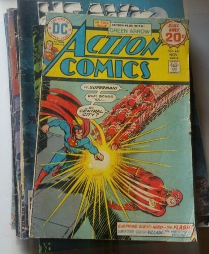 Action Comics DC #441 1974 the flash superman green arrow comic book rare!