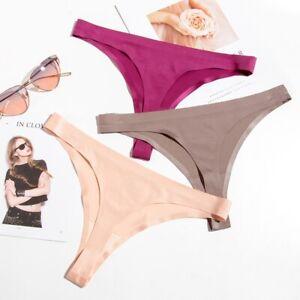 3Pack-Women-Ice-Silk-Bikini-Bottoms-Briefs-Seamless-Thongs-G-string-Swim-Panties