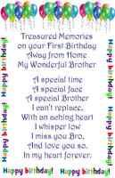 A* Brother First Birthday Away Bereavement Memorial Keepsake Grave Card my bro