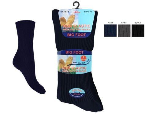 3 X Paires Hommes Non Élastique Ample Top Chaussettes Peut Être utiliser pour diabétiques taille uk 11-14