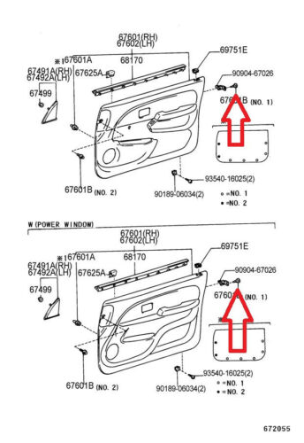 96-02 TOYOTA 4RUNNER SET OF 2 INTERIOR DOOR PANEL TRIM BOARD CLIP NEW 07066-B4