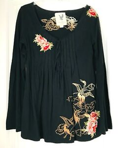 VINTAGE-HAVANA-Black-Embroidered-Womens-Blouse-Shirt-Size-Large