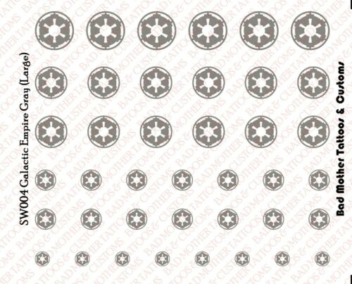 Star Wars Galactic Empire Gray Waterslide Decals for 1//18 and 1//12 figures