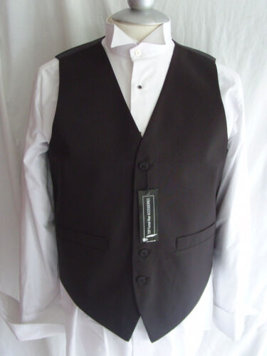 "Mens Waiter//Wedding Silk BLACK Waistcoat/<To Fit/>62/""=155cm Chest-P/&P2UK/>1st Class"