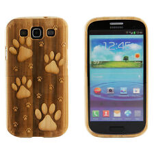 Samsung Galaxy S3 III New Genuine Bamboo Engraved Dog Paw Prints Wood Case Cover