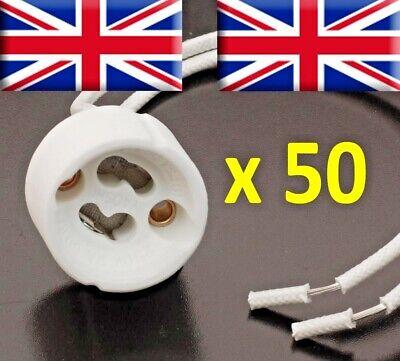 50 xGU10 Lamp Holder Mains,LED Halogen Base Socket Ceramic Connector Downright