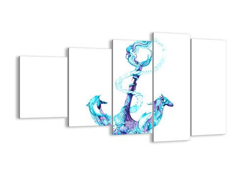 GLASBILD Wandbild Deko Korallen Quallen Anker Seil 3060 DE