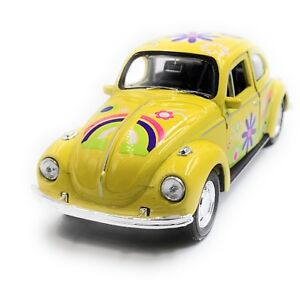VW-Maggiolino-Beetle-Hardtop-Modellino-Auto-Fiore-Giallo-Scala-1-3-4-Licenza