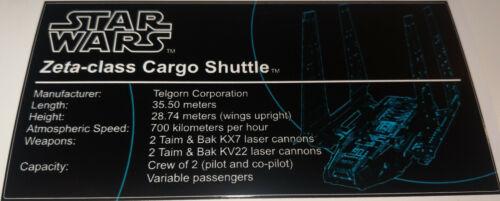 Star Wars Sticker for Lego® MOC-8143 Zeta-class Cargo Shuttle