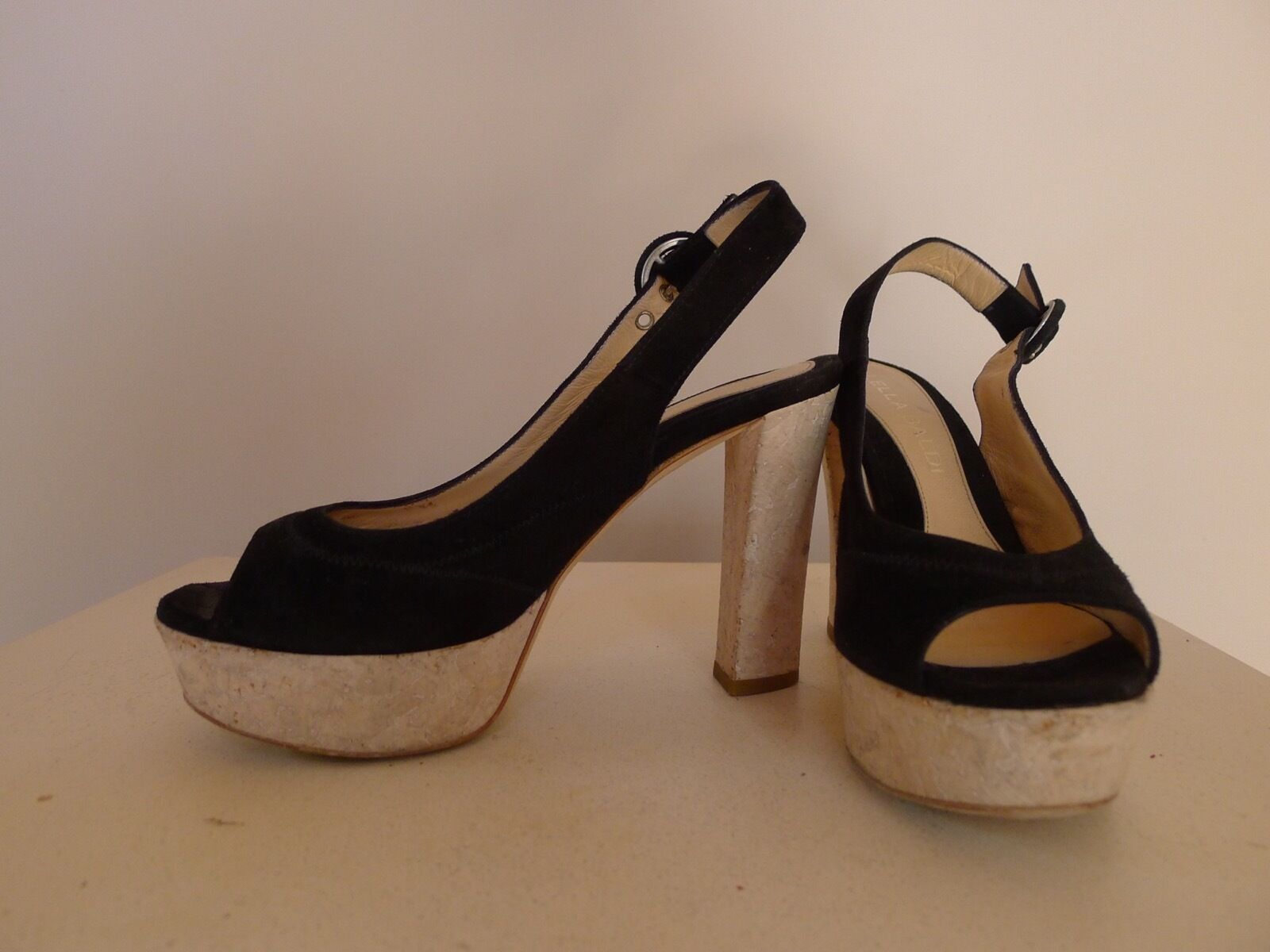 Lella Baldi 36 schwarz suede Leder high high high heels schuhe platform peep-toe very good 28d893