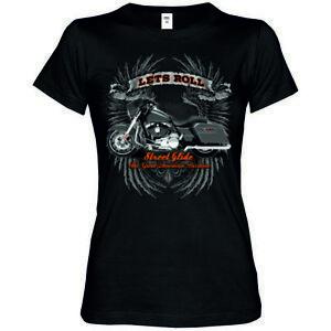 Maglietta-Donna-2-tonalita-V-Twin-HD-motivo-biker-amp-OLDSCHOOL-modello-Lets-Ride