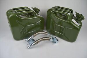 2x-Benzin-Dieselkanister-10L-aus-Metall-inkl-2x-flexiblen-Metalausgiesser