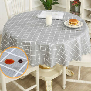 Table-Cloth-Grids-Pattern-Waterproof-Round-Tablecloth-Oil-Proof-Stain-Resistant