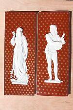 Pair of Rare Antique Wedgwood Victoria Ware Glazed Tile Plaques (c.1880)