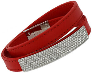 Swarovski-Vio-Rouge-Cuir-Acier-Cristal-Plaque-Bracelet-Pour-Femme-5120644