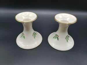 Set of 2 LENOX Holiday Holly & Berries Flared Candlesticks Candle Holders