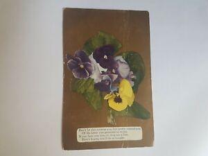 Greeting-Postcard-Vintage-Pansy-1-Ct-Stamp