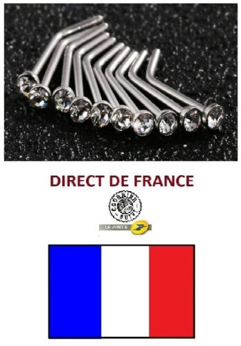 Lot de 10 piercings Nez strass blanc revendeur marché brocante bijoux FRANCE