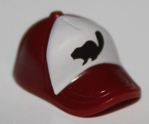 Lego Dark Red Minifig Headgear Cap Short Curved Bill Black Beaver on White