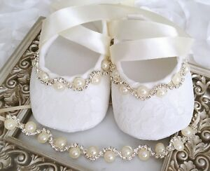 Image is loading Baby-Girl-Ivory-Christening-Shoes-Baptism-Party-Pearls- b05596d4ad11