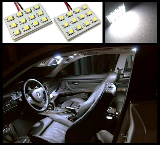 2 pcs Ultra white 12 LED interior dome map light SMD panels Xenon bulbs HID #A1