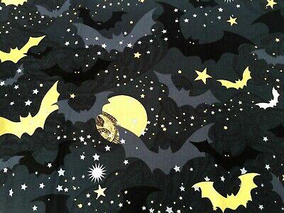 Fat Quarter Woodland Haunt Toss Moons Stars Black 100/% Cotton Quilting Fabric