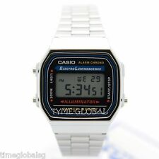 Casio A168WA-1W Digital Alarm Stainless Steel Illuminator Vintage Watch A168WA-1