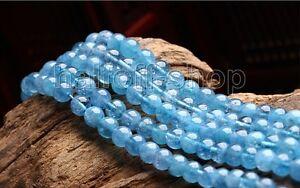 "8 mm Brazilian Aquamarine Round Gemstone Loose Beads 15/"" Natural AAA"