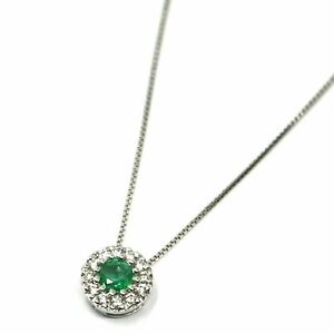 Necklace White Gold 18K, Flower Pendant With Emerald And Sapphire Frame Diamonds