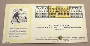Details about SUNBURY, PA AUGUST 1954 H  L  PURDY & SON AETNA INSURANCE INK  BLOTTER