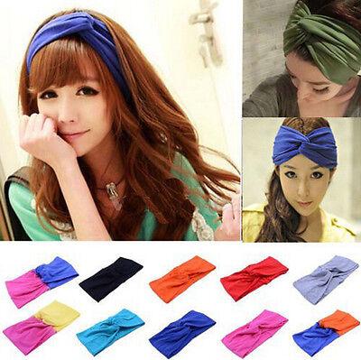 FD1356 Women Turban Twist Headband Head Wrap Twisted Knotted Knot Soft Hair Band