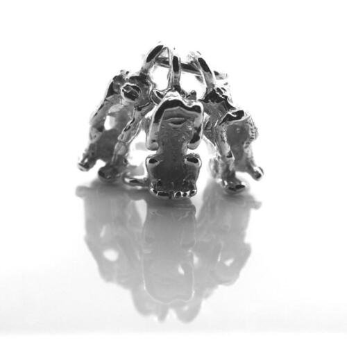 Three Wise Monkeys, see no, hear no, speak no, Charm Pendant STERLING SILVER 925